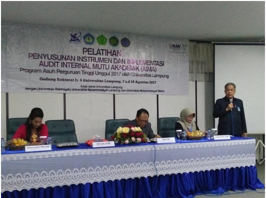 Suasana Pembukaan Pelatihan audit internal akademik di LP3M Unila.